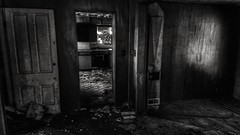 spectres.... (BillsExplorations) Tags: spectres haunted ghosts abandoned forgotten decay dark ruraldecay shadows room scary abandonedillinois old door blackandwhite monochrome farm house