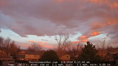March 8, 2018 - Sunrise lights up the clouds to the west. (Thornton Weather)
