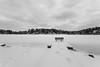 Snowy Bench On Mountain Lake (John Kocijanski) Tags: bench hbm blackandwhite canon1740mmllens landscape sullivancounty winter snow lake canon5dmkii