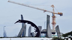 """Kameni grad"" (dtankosic) Tags: stone sava ada architecture belgrade beograd bird nikon monument serbia sfrj snow srbija geometry ciganlija figures river"