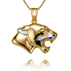 Yellow - white gold pendant. (yeloow.pl) Tags: gold golden yellow white jewelry jewelery product pendant necklace light background cat studio shadow 90mm tamron pentax k3 retouch