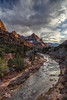 A Moody Winter Sunset Over The Watchman (rebeccalatsonphotography) Tags: sunset clouds moody dramatic texture winter february watchman virginriver river water mountain redrock ut utah np nationalpark zion canyon rebeccalatsonphotography canon