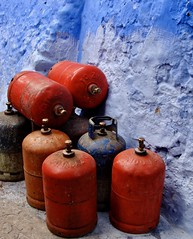(Julia Manzerova) Tags: blue chefchaouen colors plump red tanks gas tank gastank blueandred redandblue