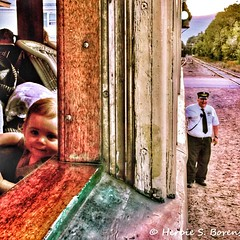 An old railroad carriage, an enduring conductor, and a little boy's first train ride. (Fotofricassee) Tags: train railroad carriage conductor boy toddler conway new hampshire