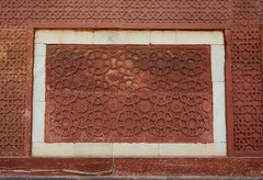 Sandstone wall of ancient fort (phuong.sg@gmail.com) Tags: agra art artistic artwork asia carve carvings clay crafted decorated decorative design detail drawing engraved engraving exterior figurative figure flower fort geometric handicraft handmade heritage hindu india indian intricate limestone motif motive ornament ornamental pattern patterned rock sandstone scrape stone surface temple texture uttarpradesh wall