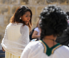 Behind Your Back! (ybiberman) Tags: israel jerusalem ethiopianchurch ethiopiancathedral wedding women portrait candid streetphotography people earring nosering cellphone veil white