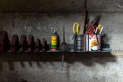 Light (Mariana Stewart) Tags: cans equipment garage indoors light steel tools wood workshop