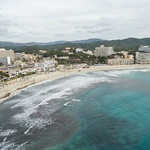 Aerial capture of the beach in Peguera, Mallorca thumbnail