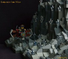28_Endarmire_Iron_Mine (LegoMathijs) Tags: lego moc legomathijs steampunk mine miners mining rocks iron ore steampowered drones tracked driller flying discovery vehicle explorer speeder transporter transport airship clockwork drone speeders walking steamcopters pickaxe tools crates shaft cranes workshop gears cave docks