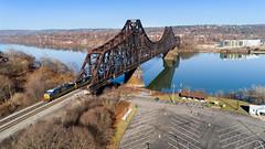 P&LE Beaver Bridge (benpsut) Tags: beaver bridge csx csxbeaverbridge csxpittsburghsub csxq138 csxt csxt5434 dji djiphantom4pro drone monaca ohioriver ple plerr phantom4 phantom4pro aerial aerialphotography dronephotography railroad railroadbridge reflection river trains