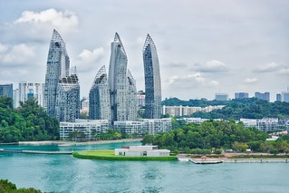 Keppel Bay seen from Fort Siloso Skywalk on Sentosa island, Singapore