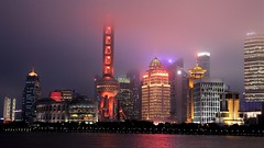 From the Bund (keppet) Tags: shanghai pudong skyscrapers night lights rain mist orientalpearlradiotvtower orientalpearltower china
