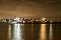 Foreboding clouds (d0mokun) Tags: river medway night time dramatic long exposure reflections ships chatham england unitedkingdom gb port moody skies arco axe dredger