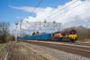DB Bin Men (Richard Hagues Photography) Tags: train sun light bin blue red sky wcml