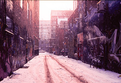 A snowy alleyway (Graffiti Alley, Toronto) (ocarmona) Tags: toronto alley graffiti snow january 2018 pentax me super velvia velvia50 fuji 32asa 35mm