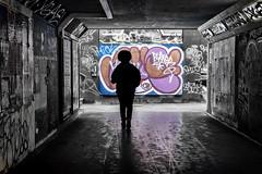 graffiti undepass (Daz Smith) Tags: dazsmith fujixt20 fuji xt20 andwhite bath city streetphotography people candid portrait citylife thecity urban streets uk monochrome blancoynegro blackandwhite mono silhouete walking afro graffiti underpass