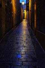 Malta Streets (Douguerreotype) Tags: lights lantern dark historic night city street malta architecture lamp rain reflection