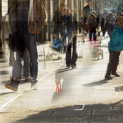 bustle 2 (janemetcalfe13) Tags: shopping bustle multipleexposure walking