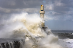 Aberdeen South Breakwater (Brian D 1960) Tags: outside harbour lighthouse aberdeen scotland pier yellow blue storm wave weather white