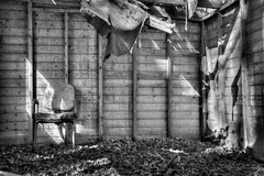 Decayed shed 3 (Rob A Dickinson) Tags: nikon d80 nikon18200 wrecked shed abandoned decay derelict chair blackandwhite monochrome dilapidated essex eastanglia
