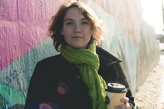 Grace (Rhiannon Bayer) Tags: mural streetart graffiti winter minnesota girl brunette coffee woman