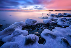 Soft & Cold (tinamar789) Tags: ice icy frost frozen cold soft sea seashore seascape sunset snow clouds colorful rocks horizon winter peaceful lauttasaari helsinki finland