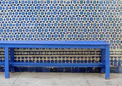 Blue bench (Shahrazad26) Tags: bench bank blauw blau blue bleu zellig zellij mozaïek mosaic synagogue synagoge marrakech marokko maroc morocco