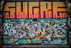 Wall art. (CWhatPhotos) Tags: photographs photograph pics pictures pic picture image images foto fotos photography artistic cwhatphotos that have which contain newcastle upon tyne gateshead north east england uk street art spray paint arch arches graffitti grafitti graffiti color colour colours colors wall brick names marks olympus micro four thirds camera 43 penf em5 mkii prime lens pen