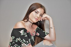 Looking good. (pstone646) Tags: youngwoman younglady beauty pretty people portrait studio brownhair longhair blueeyes jeans