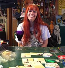 20170428 2039 - Pandemic Legacy date night #3 - Carolyn - (by Beth) - 11392013 (Clio CJS) Tags: 20170428 201704 2017 virginia alexandria clintandcarolynshouse upstairs gamenight gamenight20170428 game boardgame playingboardgame playingboardgames playingpandemiclegacy pandemiclegacy table pingpongtable sitting carolyn camerapersonbethh cameraphone smiling smile