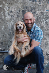 Drew and Blondie (Levi Smith Photography) Tags: drew sebastian drewsebastian plaid dog golden retreiver retriever canine portrait couple jeans smile teeth muscle tattoo beard piercings hot handsome men mens fashion bald man mans dude tennis shoes casual