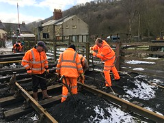 The gang change the sleepers at Levisham 19Mar18