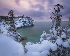 Snowy Twilight (andrewpmorse) Tags: winter lake lakehuron brucepeninsula brucepeninsulanationalpark nationalpark nationalparks ontario canada canon5dmarkiv canon 5dmarkiv leefilters leelandscapepolarizer lee06ndgrad ice snow twilight evening hiking landscape landscapes