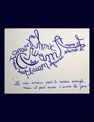 « Le vrai amour peut te rendre aveugle, mais il peut aussi t'ouvrir les yeux » (Calligraphy typography écriture speculaire) Tags: handwriting quotations quotation citation proverb proverbe artwork art wrinting quotes quote typographie typography calligrafia calligraphie calligraphy eyes yeux love amour reverse writing écriture