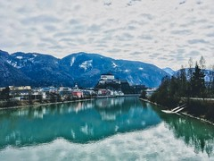 Kufstein with Fortress on an overcast winter day in the river Inn valley, Tyrol, Austria (UweBKK (α 77 on )) Tags: kufstein fortress river inn valley tirol tyrol austria österreich europe europa water flow reflection clouds winter cold green grey alps landscape city iphone