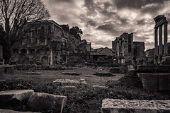 Post-Apocalyptic Scene (ProPeak Photography) Tags: aedesvestae ancient ancientchurchofsaintmary architecture bw buildings clouds europe famousplace grass iconic internationallandmark italy monochrome palatinehill people regia romanforum rome ruins sacravia santamariaantiqua sun sunrays sunset tempiodeidioscuri tempiodivesta temple templeofcastorandpollux templeofvesta touristattraction traveldestination travelandtourism unescoworldheritagesite viasacra winter