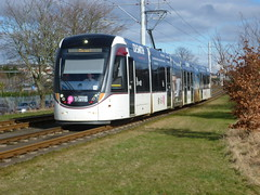 Edinburgh tram near Saughton. (calderwoodroy) Tags: edinburghtransport transportforedinburgh edinburghtrams urbos caf tramway tram saughton edinburgh scotland
