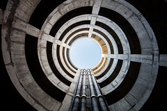 Hidden Series | Tubular structure (James Kerwin Photographic) Tags: architecture car park ramp sky summer colour detail tones london look up spiral twist hidden james kerwin archi texture
