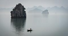 A Fisherman (Waldemar*) Tags: asia southeastasia vietnam hạlongbay southchinasea unesco worldheritagesite limestone islands fishing fisherman boat fog