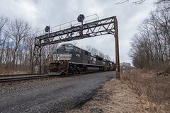 Old History (ajketh) Tags: ns norfolk southern prr pennsylvania pa port royal middle division sd60 coal hopper train old relic signal bridge cloudy mp 146 woods 2673 6673 591