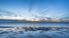 A blue sky and zigzagging clouds (Rob Schop) Tags: f11 wideangle sand landscape hoyaprofilters sonya6000 nederland outdoor lowtide clouds longexposure beach sea bluehour strand pola zigzag samyang12mmf20 le sunset a6000 noordzee wolken brouwersdam