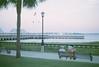 As the evening light fades (radargeek) Tags: film august 2017 charleston sc southcarolina waterfrontpark palmtree american flag minolta 35mm x370s couple bench