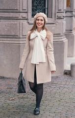 beret-bow-blouse-thepetitecat-outfit (VeronArmon) Tags: bow blouse tie neck coat beret stockings legs long silk satin formal secretary office