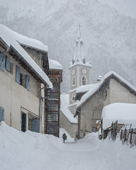 Shades of white (Michel Couprie) Tags: europe france hautesalpes alpes alps church église snow belltower village neige montagne mountain mood houses silhouette people canon eos ef50mmf12l couprie