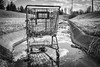 All Downstream From Here... (tim.perdue) Tags: all downstream here shopping cart drainage ditch strip mall suburbia suburban columbus ohio polaris decay urban black white bw monochrome abandoned forgotten derelict water reflection concrete grass