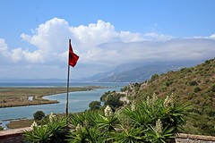 Flag with a view - Albania day trip - Venetian Castle Archaeological Museum (Dis da fi we (was Hickatee)) Tags: albania day trip venetian castle archaeological museum butrint