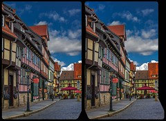Old Germany 3-D / CrossEye / Stereoscopy / HDR / Raw (Stereotron) Tags: fachwerk halftimbered house stud work antiquated ancient medieval middleages sachsenanhalt saxonyanhalt ostfalen harz mountains gebirge ostfalia hardt hart hercynia harzgau quedlinburg architecture europe germany deutschland crosseye crosseyed crossview xview cross eye pair freeview sidebyside sbs kreuzblick 3d 3dphoto 3dstereo 3rddimension spatial stereo stereo3d stereophoto stereophotography stereoscopic stereoscopy stereotron threedimensional stereoview stereophotomaker stereophotograph 3dpicture 3dglasses 3dimage hyperstereo twin canon eos 550d yongnuo radio transmitter remote control synchron kitlens 1855mm tonemapping hdr hdri raw