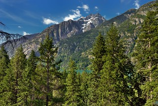 Looking Across a Mountain Valley and Lake to Mountains Beyond (North Cascades National Park Service Complex)