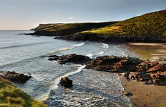 Happiness Comes in Waves (suerowlands2013) Tags: polzeath northcornwall pentirepoint waves eveningsun beach rocks cornishcoast cliffs