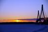 Boring but beautiful (STTH64) Tags: bridge sun sunset sky clouds landscape ice sea seaside trees horizon